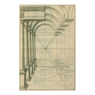 Vintage Architecture, Arches Columns Perspective Poster