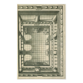 Vintage Architecture, Atrium Courtyard Perspective Poster