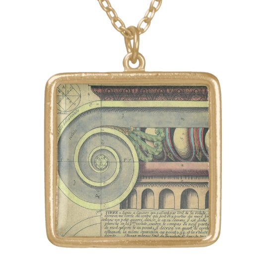 Vintage Architecture; Capital Volute by Vignola Gold Plated Necklace