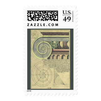Vintage Architecture; Capital Volute by Vignola Postage Stamp