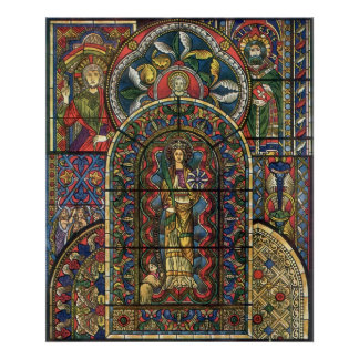 Vintage Architecture, Church Stained Glass Window Poster