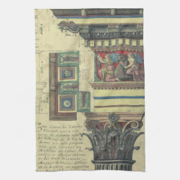 Vintage Architecture, Column with Cornice Moulding Kitchen Towel