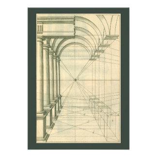 Vintage Architecture Columns Arches Perspective Cards