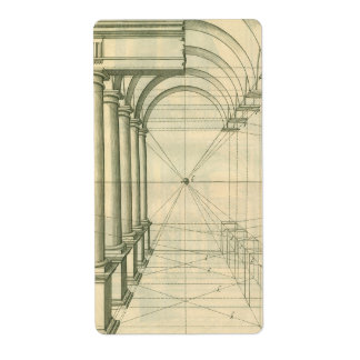 Vintage Architecture, Columns Arches Perspective Shipping Label