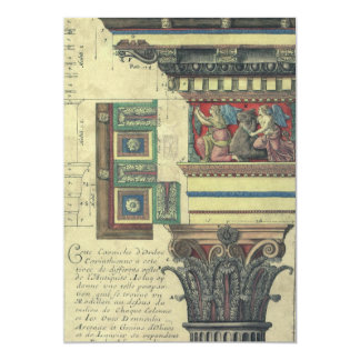 Vintage Architecture, Cornice Moulding and Column 5x7 Paper Invitation Card