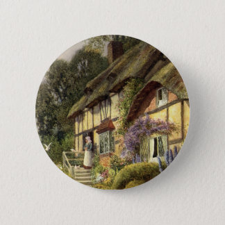 Vintage Architecture, Country Cottage House Button