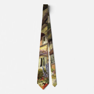 Vintage Architecture, Country Cottage House Neck Tie