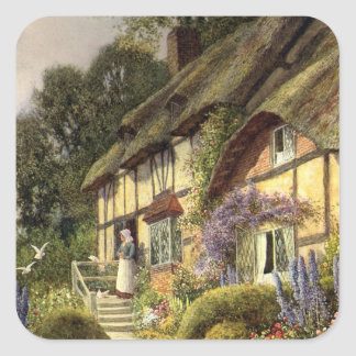 Vintage Architecture, Country Cottage House Square Sticker