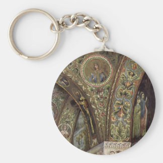 Vintage Architecture, Decorative Arch in a Church Basic Round Button Keychain
