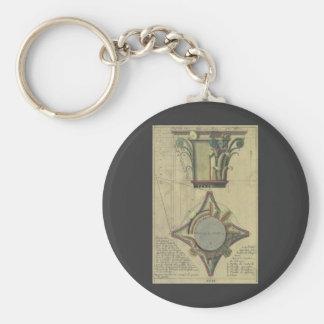 Vintage Architecture, Decorative Capital Crown Basic Round Button Keychain