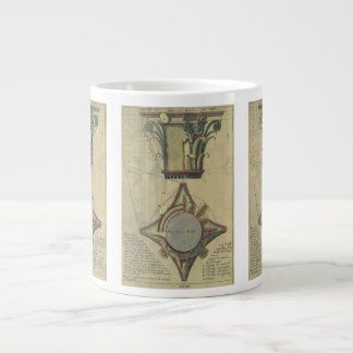 Vintage Architecture, Decorative Capital Crown Large Coffee Mug