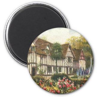 Vintage Architecture English Cottage Formal Garden Refrigerator Magnet