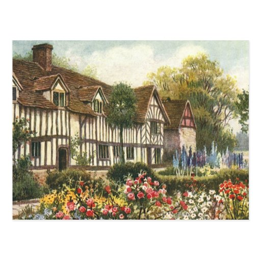 Vintage Architecture English Cottage Formal Garden Post Cards