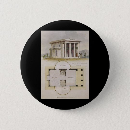 Vintage Architecture, Floor Plan and Greek Villa Pinback Button
