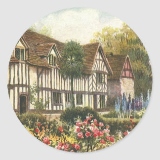 Vintage Architecture Formal Garden English Cottage Classic Round Sticker