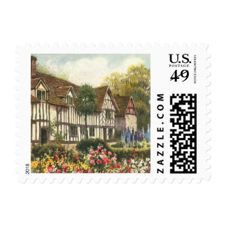 Vintage Architecture Formal Garden English Cottage Postage