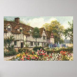 Vintage Architecture Formal Garden English Cottage Poster