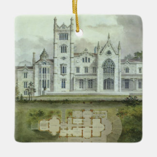 Vintage Architecture, French Chateau Floor Plans Ceramic Ornament