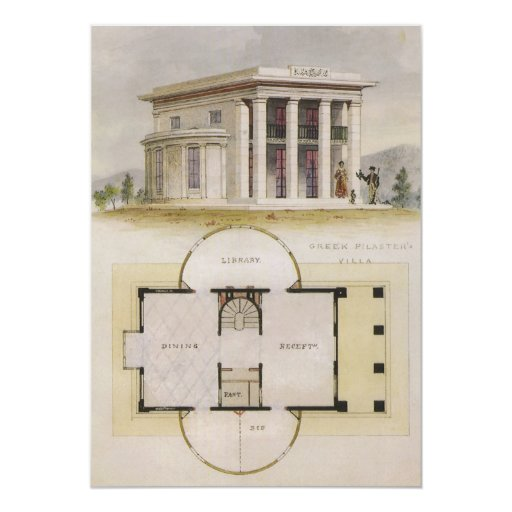 vintage architecture greek villa and floor plan 5x7 paper