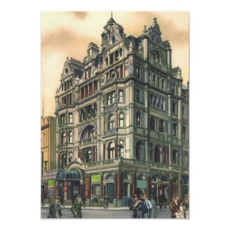 "Vintage Architecture Queens Hotel Leicester Square 5"" X 7"" Invitation Card"