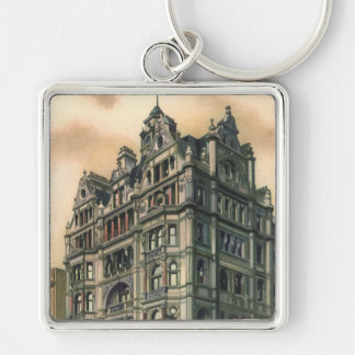 Vintage Architecture Queens Hotel Leicester Square Silver-Colored Square Keychain