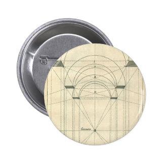 Vintage Architecture, Renaissance Arch Perspective Pinback Button