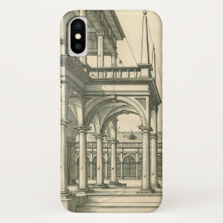 Vintage Architecture, Roman Courtyard with Columns iPhone X Case