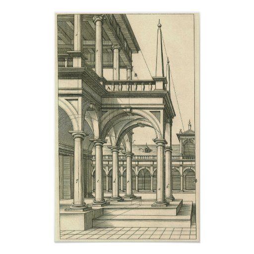 Vintage Architecture, Roman Courtyard with Columns Posters