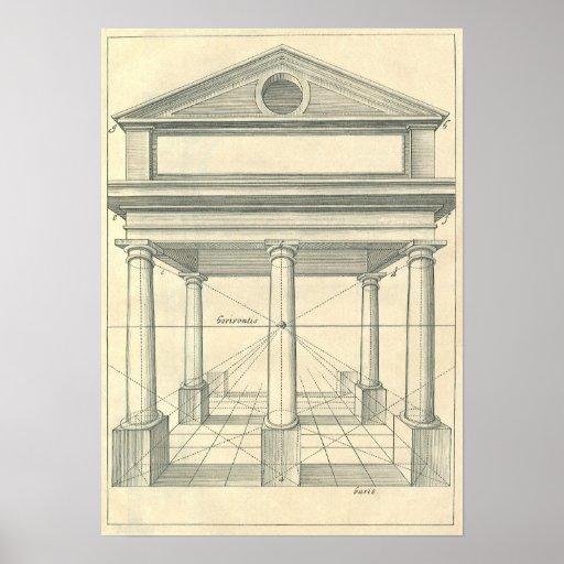 Vintage Architecture, Roman Portico with Columns Poster