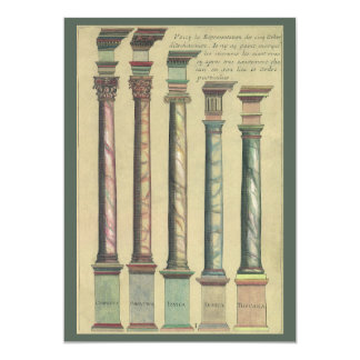 "Vintage Architecture, the 5 Architectural Orders 5"" X 7"" Invitation Card"