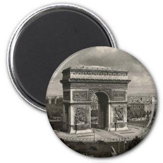 Vintage Arco del Triunfo 1943 de París Imán Redondo 5 Cm