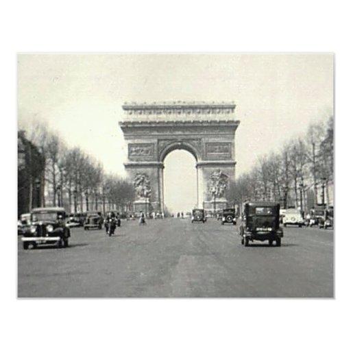 """Vintage Arco del Triunfo Francia Invitación 4.25"""" X 5.5"""""""