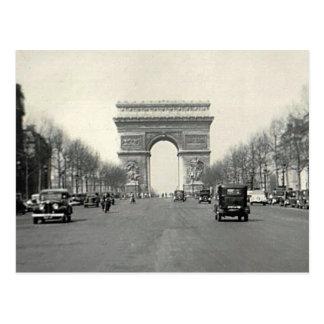 Vintage Arco del Triunfo Francia Tarjeta Postal