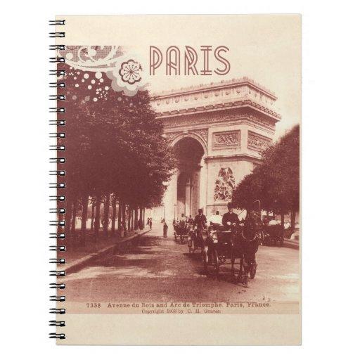Vintage Arco del Triunfo, París, 1903 Libretas