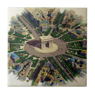 Vintage Arco del Triunfo París Azulejo Cuadrado Pequeño