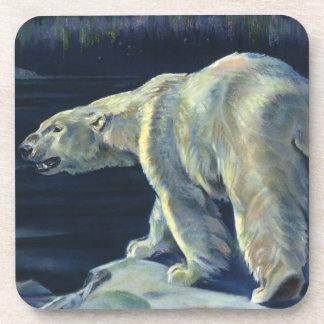Vintage Arctic Polar Bear, Marine Life Animals Beverage Coaster