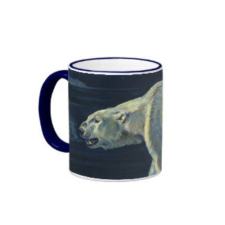 Vintage Arctic Polar Bear, Marine Life Animals Ringer Mug