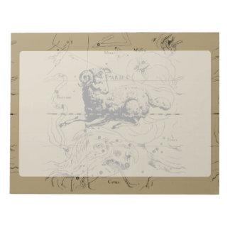 Vintage Aries Constellation Map Hevelius 1690 Notepad