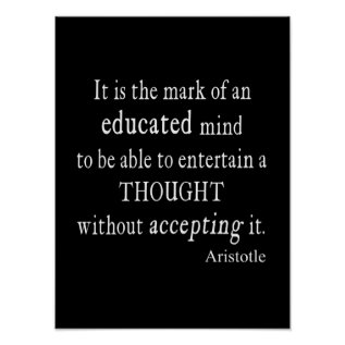 Vintage Aristotle Educated Mind Thought Quote Poster at Zazzle