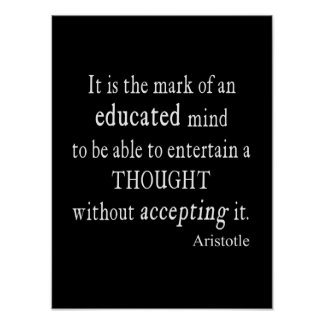 Vintage Aristotle Educated Mind Thought Quote Print