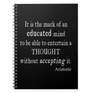 Vintage Aristotle Educated Mind Thought Quote Spiral Note Book