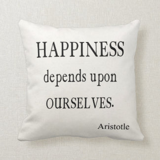 Vintage Aristotle Happiness Inspirational Quote Throw Pillows