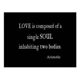 Vintage Aristotle Love Single Soul Black Quote Postcard
