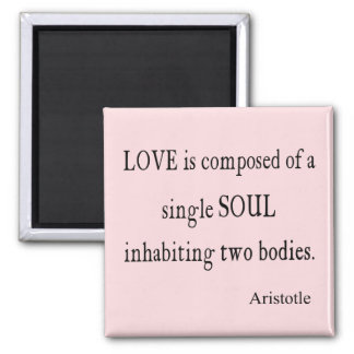 Vintage Aristotle Love Single Soul Pink Quote 2 Inch Square Magnet