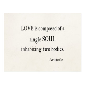Vintage Aristotle Love Single Soul Quote Postcard