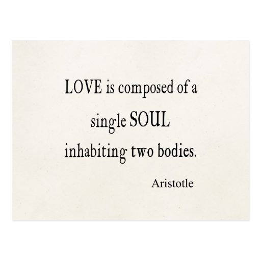 Vintage Aristotle Love Single Soul Quote Post Cards