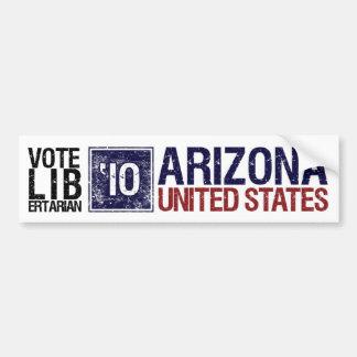 Vintage Arizonaa del libertario del voto en 2010 - Etiqueta De Parachoque