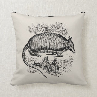 vintage armadillo throw pillow pick your color