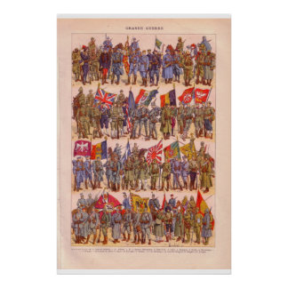VIntage armies of the world, with flags 1920 Poster