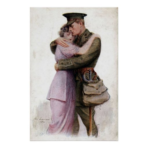 Vintage Army Military Return Home Poster Print